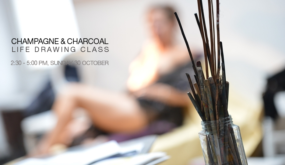 Champagne & Charcoal Life Drawing Class, 30 Oct 2016
