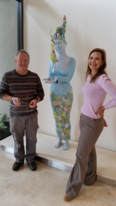 Artist Peter Dailey and his installed commission, with Art Consultant, Ainslie Gatt